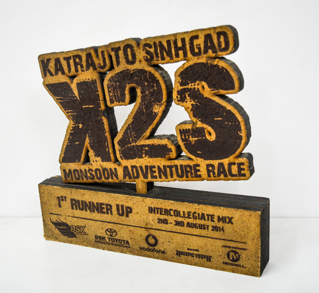 Laser cut and printed MDF customised trophies