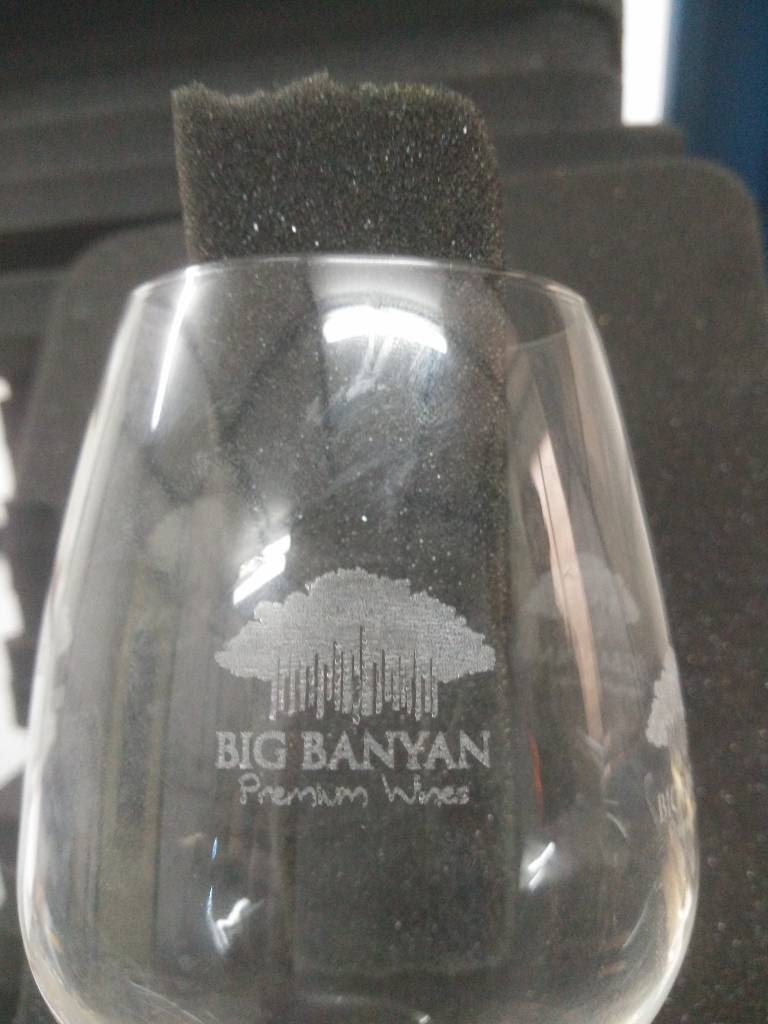 Laser engraving on wine glass