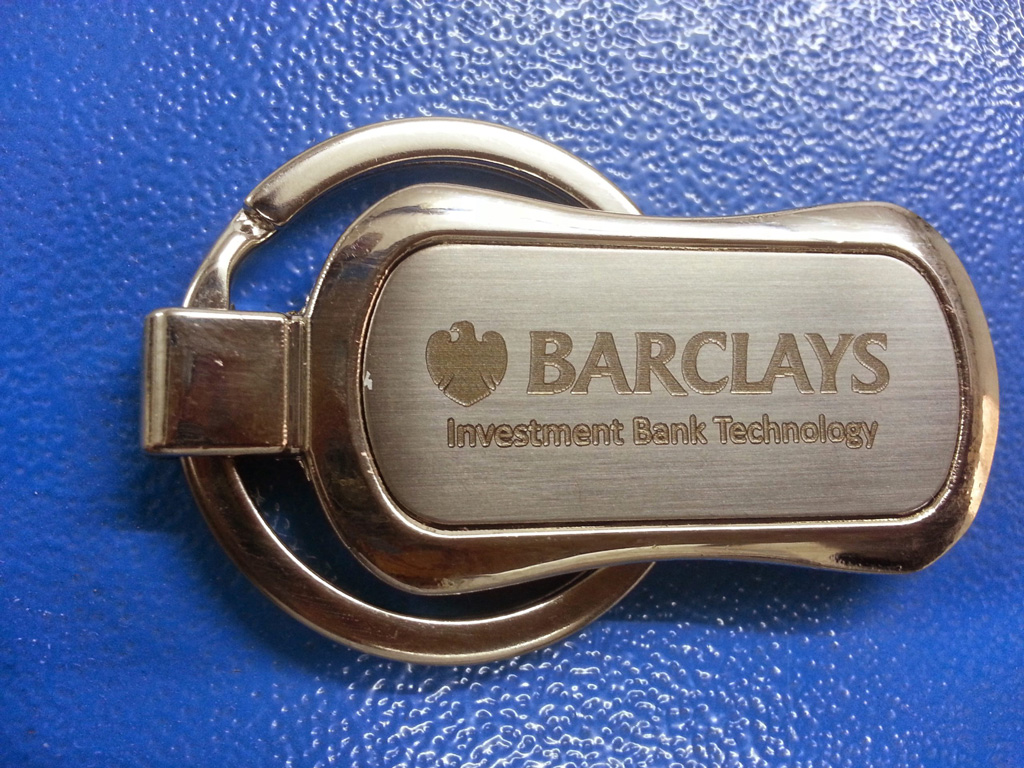 Logo engraving on keychain