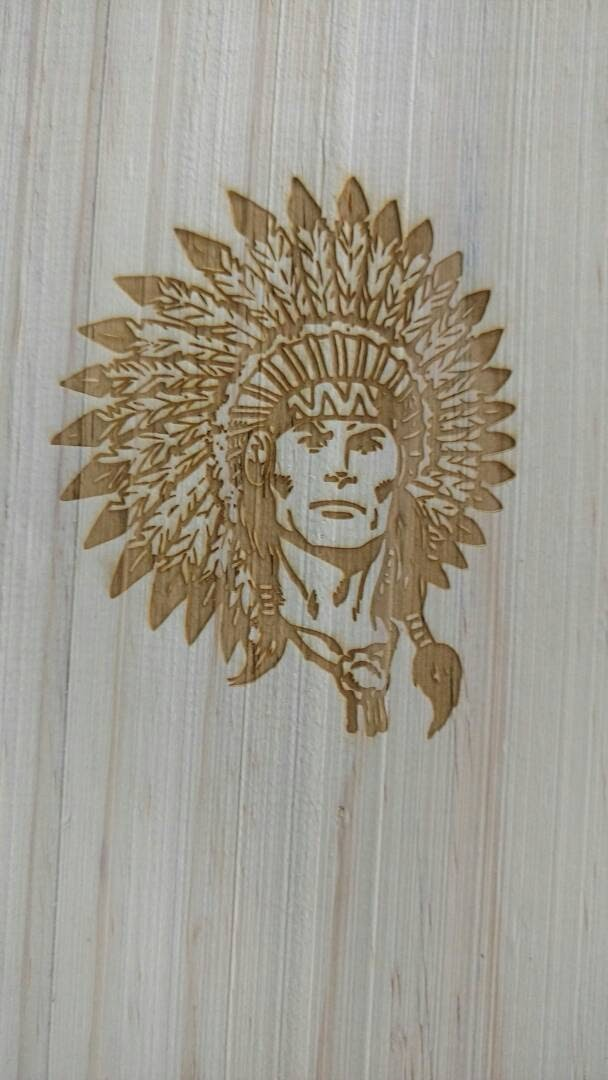 Laser engraving on steam beach wood