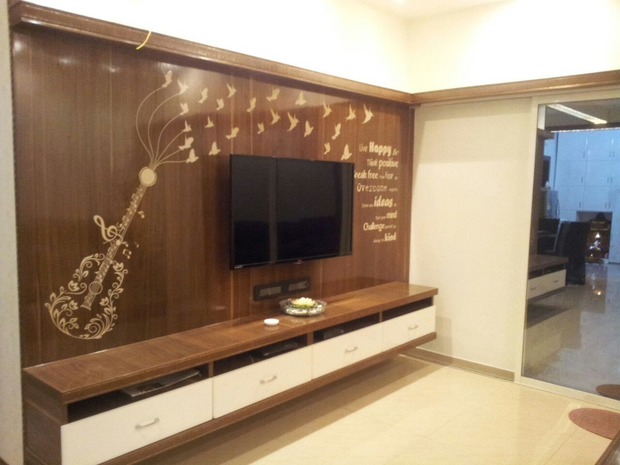 TV Unit customised printing on wood
