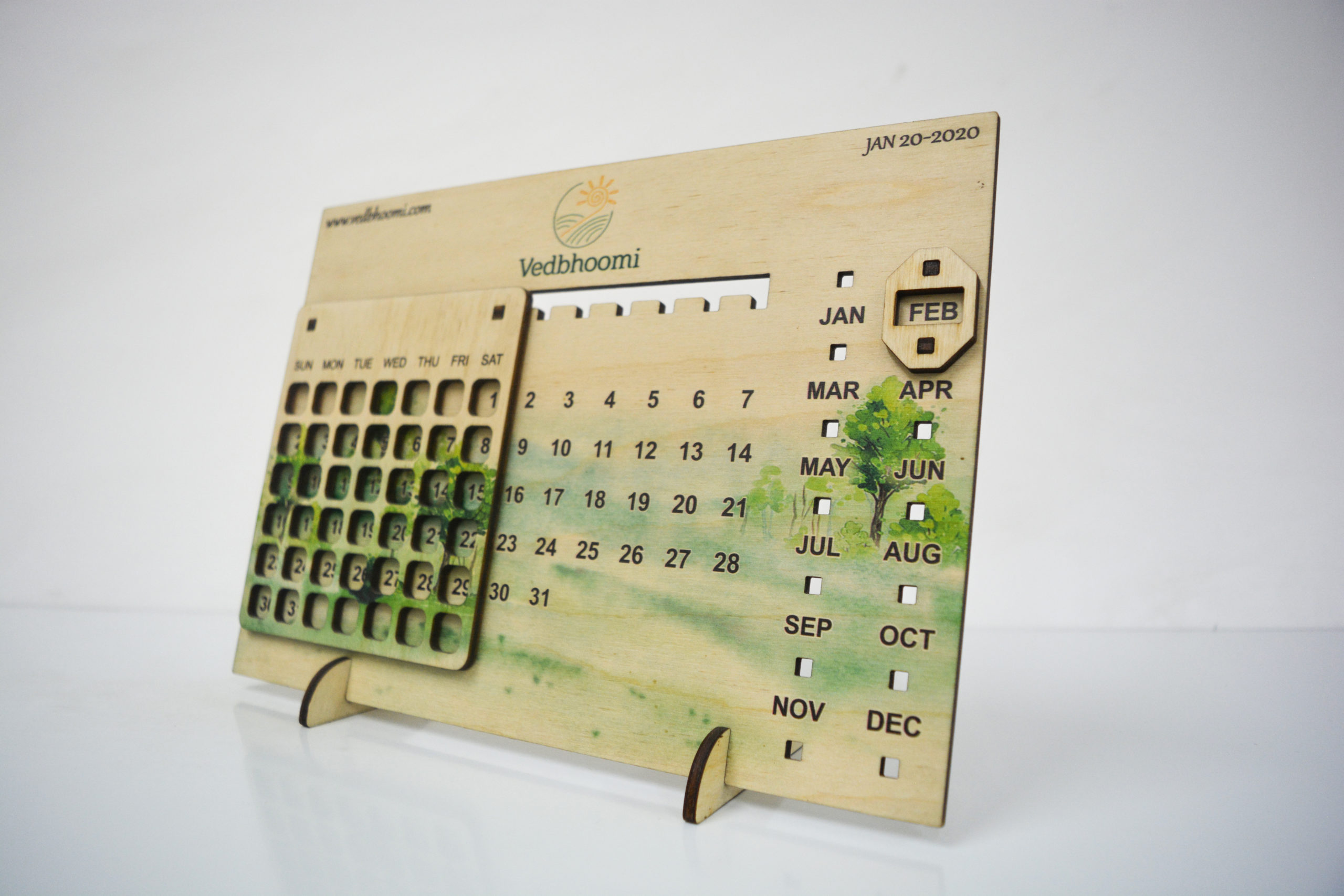 UV printed Lasercut Birch ply perpetual calender