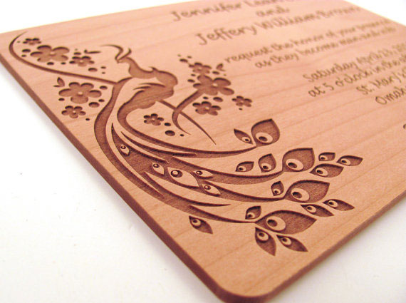 engraving on vineer sheet invitation